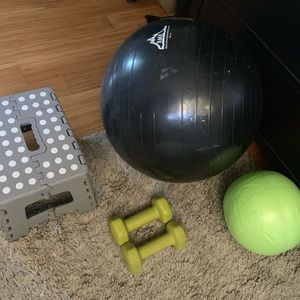 Fitness Bundle! 5lbs Dumbell Stepper Exercise Ball